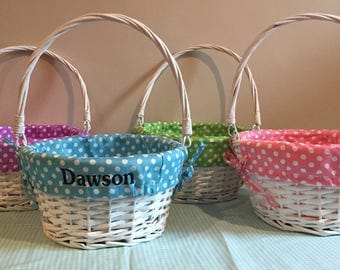 Monogrammed Easter Basket Liner and Painted Wicker Basket with Hinged Handle