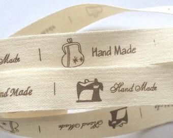 decorative Ribbon: hand made Brown on ecru background