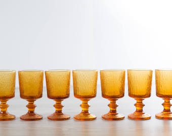 Vintage Amber Goblets / Set of 7 Amber Colored Textured Wine Glasses / Yellow Orange Cocktail Barware Icicle Ice Stemware