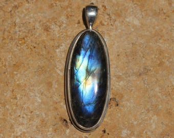 Long Dark Blue-Multi Color Labradorite Pendant In Sterling Silver, Top Quality Rare Blue Labradorite, Spectralite,  FOS112