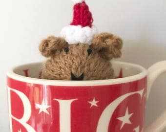 Guinea Pig Hand Knitted Christmas Decoration in Santa Hat