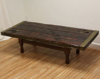 Vintage Ship Hatch Nautical Coffee Table Brass / Wood Planks Rustic / Beach Vibe