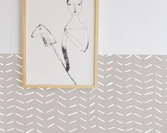 Wall Decal - Dragged Stripes - Wall Sticker room decor