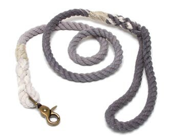 4 FT Charcoal Ombre Rope Dog Leash MACHINE WASHABLE