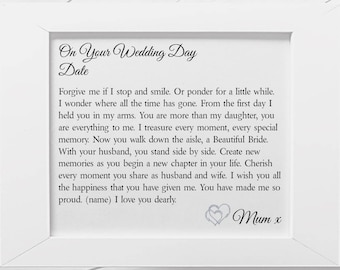 Daughter on Your Wedding Day Personalised Poem