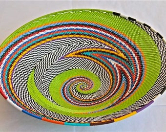 African Telephone Wire Bowl - APPLE GREEN - Multicolor swirl medium
