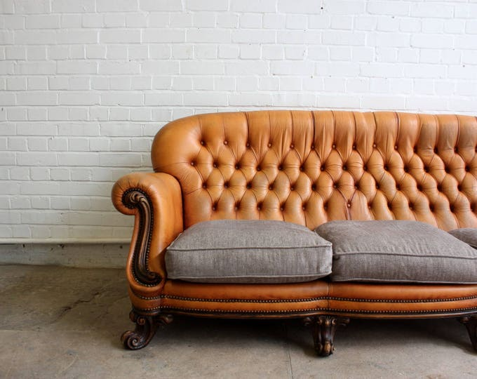 Leather Chesterfield Sofa With Goose Feather Tweed Cushions