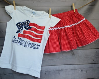 Personalized 4th of July Patriotic Flag with Bow Applique Shirt or Onesie Girl Boy - Skirt Available for Order