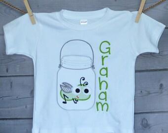 Personalized Jar with Big Eyed Bug Firefly Grasshopper Applique Shirt or Onesie Boy or Girl