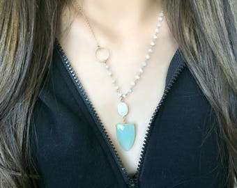 aqua chalcedony necklace with rainbow moonstone necklace aqua chalcedony pendant aqua jewelry arrow blue gemstone moonstone chain eternity