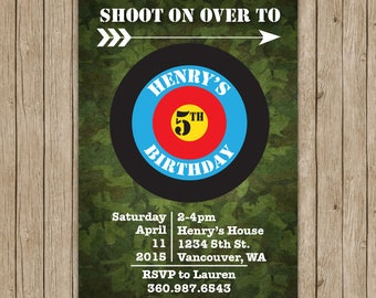 Archery Birthday Invitations- Digital File OR Printed Invites- Archery Party- Birthday Invites- Archery Birthday Party- Archery Invitations