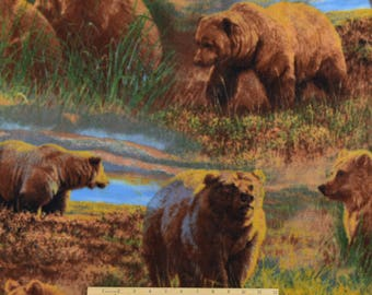 FLEECE Grizzlies in the Meadow Fabric Bear Fabric Wild Wings From David Textiles