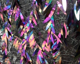 Amazing Color!!1 Yard Salix Leaf Iridescent Sequin Fabric,Embroidery Iridescent Pink Sequin Mesh Fabric,Sequin Photo Backgrop