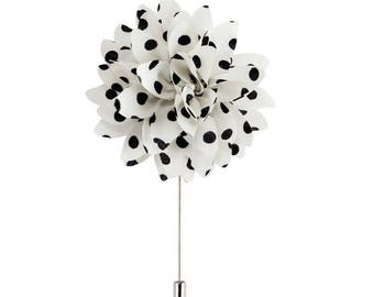 Brooch pin white flower with black dots