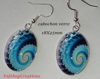 Blue swirl glass cabochon earrings