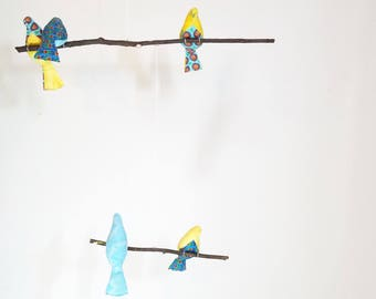 Two Tier Fabric Bird Mobile