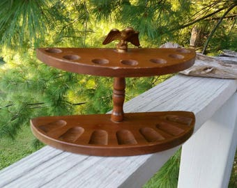 Half Circle Solid Wood Pipe Holder with Eagle on Top