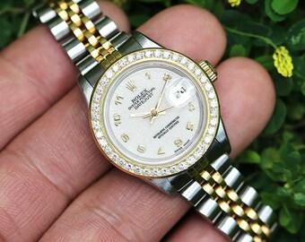 Ladies Rolex Datejust Two Tone Jubilee Anniversary Dial Diamond Bezel '87 69173 26MM