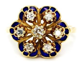 Vintage Diamond Cluster Flower Ring with Blue Enamel in 14K Yellow Gold .60ctw