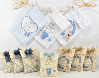 10 Personalized Favors-Bag 7 x 9 cm for birth and baptism