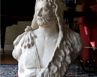 Hercules Bust Sculpture Statue with Lion Headdress Huge Michelangelo