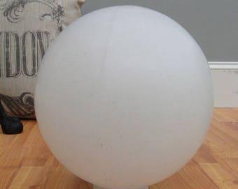 "Big White Plastic Ball Outdoor Shade Light Fixture Round 12"" Dia 4"" Fitter Globe"