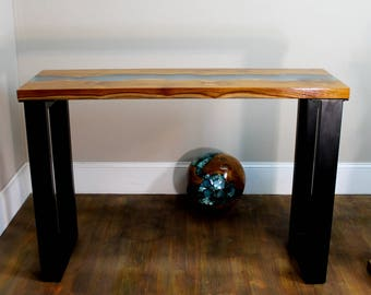 Blue Lucite Stripe & Teak Wood Table Modern Black Legs Hand Made Furniture