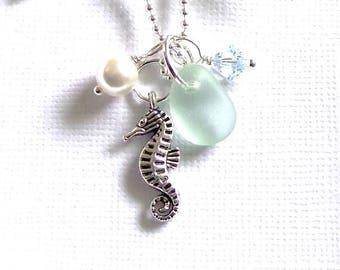 Sea Glass Jewelry Seahorse Necklace Seafoam Aqua Beach Glass Necklace Garden Leaf