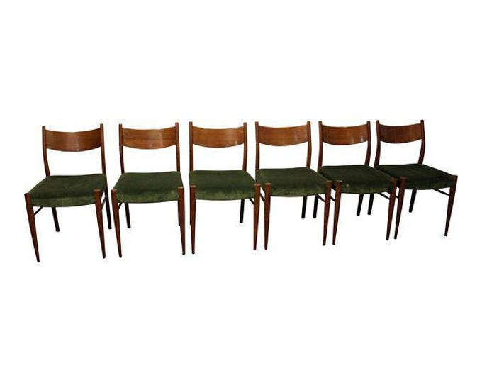 Mid-Century Dining Chairs Danish Modern Teak Curved Back Dining Chairs-Set of 6