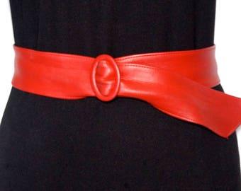 Red Faux Leather Cinch Belt,  Vintage Astor Dress Cincher, Retro Fashion Accessories