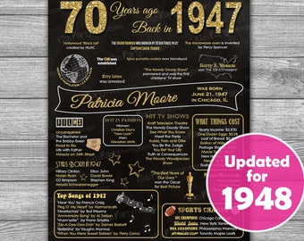 70th Birthday Gift for Mom, PRINTABLE 70th Birthday Poster, 70th Birthday Sign, 1948 Chalkboard Poster Sign Banner Party Decoration Men Dad