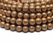 8mm Metallic Copper Painted Round Wood Beads 15 inch strand