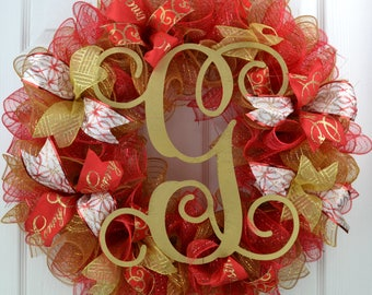 Christmas Initial Wreath - Letter Christmas Wreath - Christmas Letter Door Wreath - Letter Christmas Door Wreath - Christmas Mesh Wreath