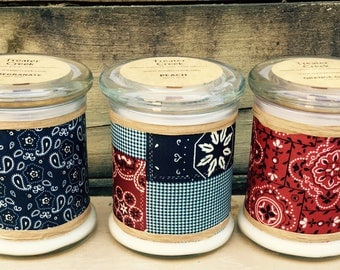Western Party Decor - Cowboy - Bandana - Soy Candles - Wooden Wick - phthalate free