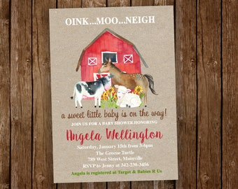 Farm Baby Shower Invitation, Animal Invitation, Farm Invitation, Farm Baby, Baby Shower, Farm, Invitation - Digital Or Printed