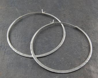ON SALE NOW Silver Hoop Earrings, Large Silver Earrings, Hammered Silver Earrings
