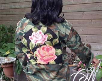 Jacket military camouflage customized pink pattern canvas