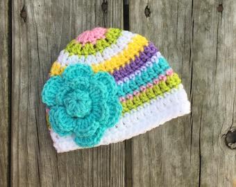 Girls Newborn Baby Beanie Ready To Ship Girls Hat Pink Green White Yellow Purple Blue Crochet Baby Beanie Baby Shower Gift Baby
