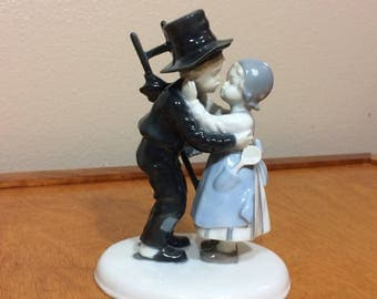 Boy and Girl Kissing Figurine by Metzler Ortloff - Germany
