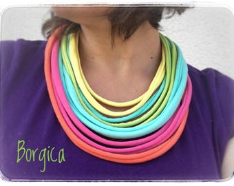 Pastel rainbow stripes - upcycled multistrand necklace, fabric jewelry, eco friendly necklace, colorful jersey stripes