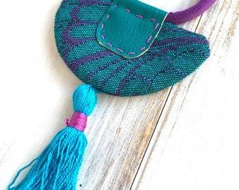 Half moon Textile jewellry Wrap scrap necklace - recycle fabric jewelry - babywrap necklace - tassel vegan