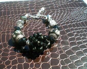 Ebony Glamour Beaded Bracelet; Hand Beaded, Black Beaded Bracelet, Boho Bracelet, Gift
