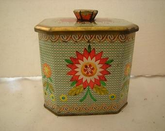 vtge tin -english tin-candy tin-storage-box-organization-kitchen storage-shelf decor-tin collection-lidded tin-