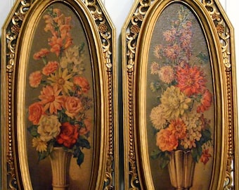 Vintage NEW Gold SYROCO Floral Wall Hanging Plaque 1964 Flowers Roses Shabby Hollywood Regency