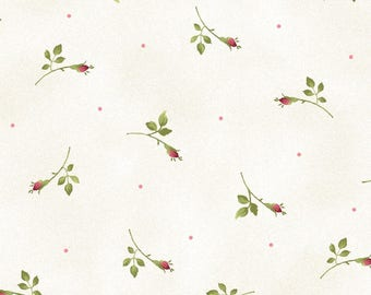 Tiny Red Rose Bud Branches Tossed About, Roses on the Vine, Marti Michell, Maywood (By 1/2 yd)