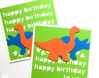 Dinosaur Birthday card, Happy birthday, first birthday party, little boy or girl card. Bright Green with orange and blue dinosaurs, dino.