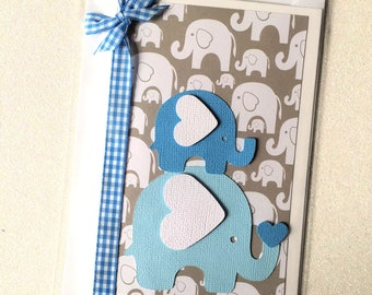 Blue Baby elephant card. Baby shower card, first birthday party. New baby gift. Baby boy card. Blue elephant greeting card.