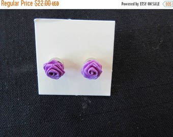 Vintage Jewelry Avon Purple Rose Blossom Earrings Collectible Avon Jewelry
