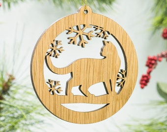 Cat Christmas Ornament - Prowling Cat Silhouette Laser Cut Wooden Tree Decoration - Walking Kitty Cat Ornament - Cat Carved Wood Ornament