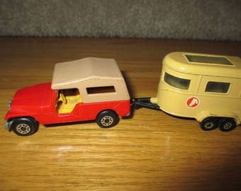 Vintage 1977 Matchbox Superfast No. 53  Jeep CJ6 and Pony Trailer